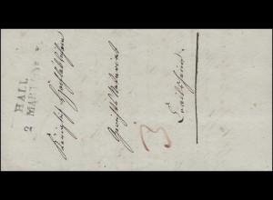 Vorphilatelie Schweiz Zweizeiler HALL 2. März 1839 Brief an das Gerichtsnotariat