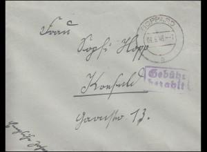 Gebühr-bezahlt-Stempel auf Brief BOPPARD 9.6.1946 nach Krefeld