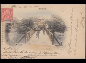 Französisch-Indochina AK Tonkin Hanoi Pagode Pinceau nach ZAANDAM 16.4.1905