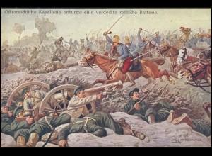 AK Östereichische Kavalerie erstürmt russische Batterie, INNSBRUCK 8..1.15