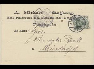 Germania 5 Pf. EF Postkarte Papierwaren Michels SIEGBURG 24.7.06 n. Münstereifel