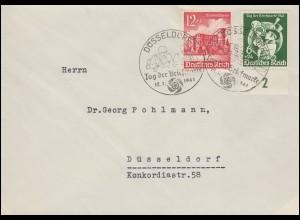 762 Tag der Briefmarke Postillion auf FDC mit ESSt DÜSSELDORF 12.1.1941