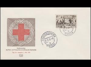 370 Rotes Kreuz & Verbandsplatz 1956, Schmuck-FDC Saarbrücken Ersttag 7.5.56