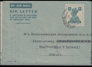 Indien Aerogramm 6 AS türkis, DEHLI 6.2.51 nach Braunschweig