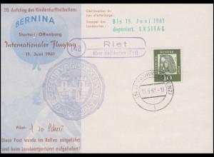 70. Aufstieg Kinderdorffreiballon BERNINA, Postkarte Riet über Vaihingen 15.6.61