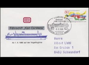 Fährschiff KARL CARSTENS ab 1.6.1986 auf Vogelfluglinie EF Bf SSt Hamburg 8.5.86
