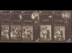 5 Ansichtskarten Ob ich Dich liebe, alle gelaufen VIERSEN 1913 als Soldatenpost