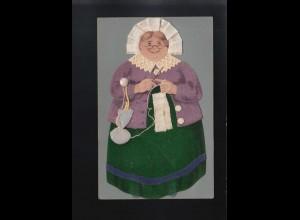 Frau Haube grün Lila Kleid Spitzenkragen häkeln Garn Beutel Knöpfe, ungebraucht