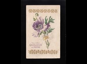 Lila und weiße Blumen wie gestickt, Glückwunsch Geburtstag, Chambrey 6.3.1913