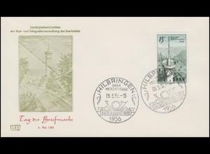 369 Tag der Briefmarke & Fernmeldeturm 1956, FDC ESSt Hilbringen Posthorn 6.5.56