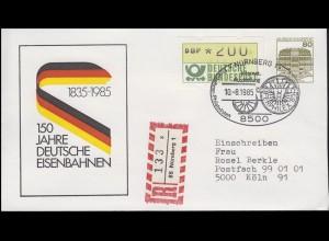 Privat-Umschlag 150 Jahre Deutsche Eisenbahnen R-Bf SSt Nürnberg Räder 10.8.1995