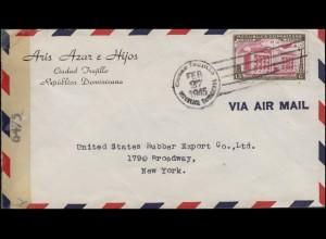 Zensurpost 6475 Dominikanische Republik Bf. Ciudad Trujillo 27.2.1945 in die USA