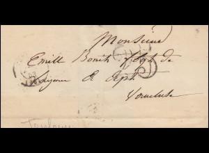 Frankreich Vorphilatelie Briefhülle TOULOUSE 8.8.1853 mit Großer 25 nach Apt