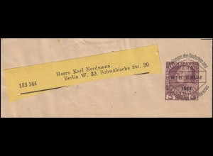 Österreich Streifband S 8 Voraussentwertung D.Ö.A.V. WIEN Mitte September 1911