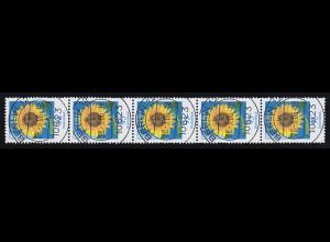 2434 Sonnenblume als 5er-Streifen mit VS-O BERLIN 28.3.06 mit Nummer 200