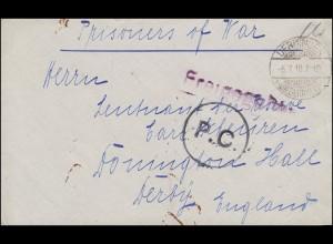 Kriegsgefangenenpost Briefvorderseite Freigegeben P.C.-Stempel UERDINGEN 6.7.18