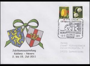 Jubiläumsausstellung Koblenz - Nevers & Städtewappen MiF Bf SSt Koblenz 2.7.2011