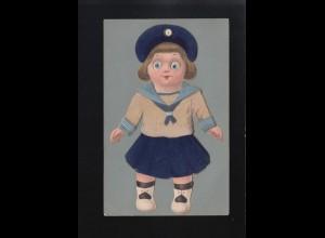 Kleines Mädchen blond blaue Augen im Matrosenanzug Mütze und Rock, ungebraucht