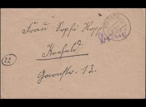 Gebühr-bezahlt-Stempel auf Brief BOPPARD 24.11.1945 nach Krefeld