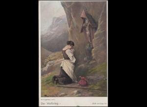AK Der Weltkrieg: Gemälde von Max Kuglmayr - Gott schütze ihn, TELS 17.5.1918