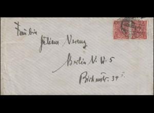 191 Posthorn als Paar MeF portogerechter Brief DÜSSELDORF 12.10.1922 nach Berlin