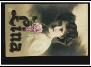 Ansichtskarte Vornamen: Lina, Frauenbildnis, BERLIN-STEGLITZ 30.4.1912