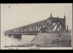 Ansichtskarte Kehl - Verkehrsbrücke, EF Germania ZENSUR Kehl / PK Straßurg 1915