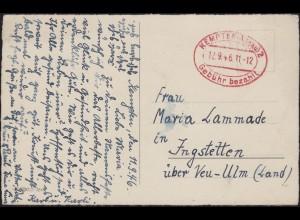 Gebühr-bezahlt-Stempel KEMPTEN (ALLGÄU) 2 - 12.9.1946 auf Weihnachtskarte