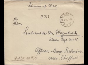 Kriegsgefangenensendung ELBERFELD 15.9.19 an ein Offizierslager bei Sherffield