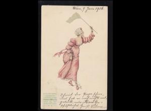 Künstler-AK Frau mit Schmetterlingsnetz, Steindruckerei Habacher & Co. WIEN 1906
