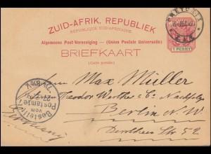 Südafrika Postkarte Wappen 1 Penny rot/grün PRETORIA 6.12.97 nach BERLIN 27.12.