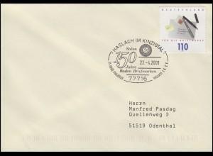 2148 Tag der Briefmarke, EF Bf SSt Haslach Salon Baden Briefmarken 22.4.2001