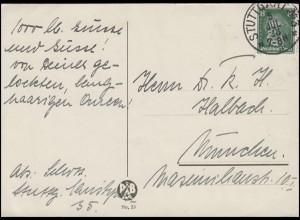 389 Ludwig van Beethoven 8 Pf. EF Postkarte STUTTGART No 3 - 5.7.28 nach München