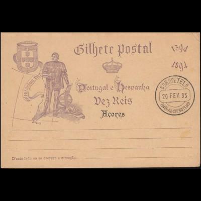Portugal Postkarte P 25 mit Zudruck Acores / Azoren 1894, gestempelt 20.2.95