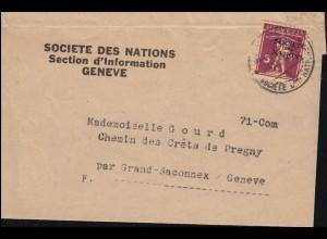 Völkerbund (SDN) 16x Tellknabe EF auf Orts-Streifbandsendung GENF 15.12.1930