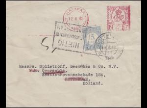 Großbritannien Absenderfreistempel HALIFAX 12.10.45 nach ROTTERDAM 18.10.1945