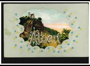 Ansichtskarte Vornamen: Albert, Landschaft mit Schloss, TONDERN 13.12.1907