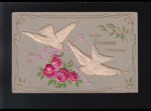 2 weiße Tauben rosa Blumen Band Glückwunsch Geburtstag, gelaufen 10.12.1907