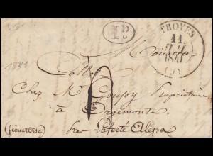 Frankreich Vorphilatelie Brief TROYES 11.7.1841 mit Oval-O 1 D nach PARIS 12.7.
