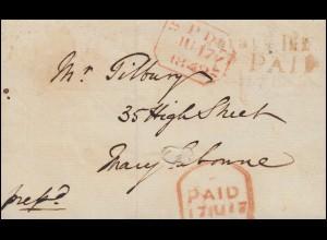 Großbritannien Vorphilatelie Brief mit PD-Stempel und PAID-Stempel 1842