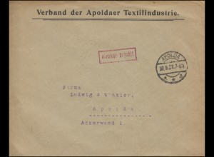 Gebühr-bezahlt-Stempel Orts-Bf Verband Apoldaer Textilintustrie APOLDA 30.8.1923