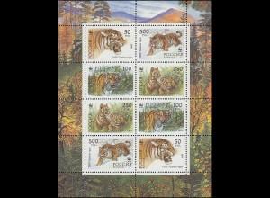 Rußland 343-346 Russische Fauna: Ussuri Tiger, ZD-Kleinbogen 1993, **
