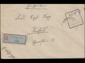 Gebühr-bezahlt-Stempel mit Not-R-Zettel BOPPARD 5.5.1947 nach Krefeld 9.5.