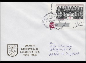 1979 Westfälischer Friede, EF Schmuck-Bf SSt Langenfeld Stadterhebung 23.3.1998