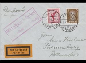 Luftpost Mit Luftpost befördert Flugpostamt Braunschweig Drucksache KÖLN 5.5.27
