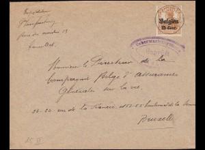 Zensur Überwachungsstelle auf Brief COUILLET 1916 mit 15II als EF nach Brüssel