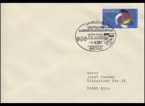 1957 Euroregion SAAR-LOR-LUX, EF Brief SSt Saarlouis Jugendfeuerwehrtag 1.9.2001