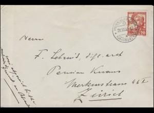 Schweiz 289 Frauentrachten 20 C Brief INNERAROSA (GRAUBÜNDEN) 29.12.35 n. Zürich
