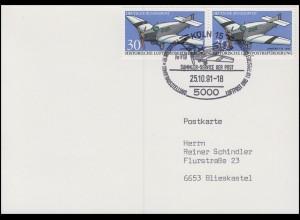 1522 Luftpostbeförderung, MeF Postkarte SSt Köln Junkers Ju F 13 - 25.10.91