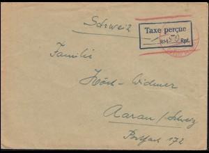 Gebühr Bezahlt und Taxe-Stempel 50 Rpf. Brief ROTTWEIL 13.10.47 in die Schweiz